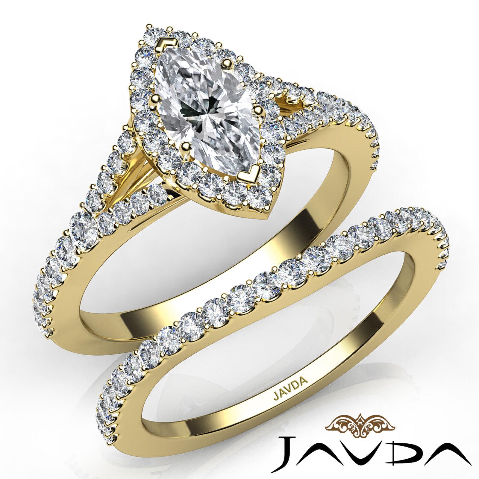 2.02ctw Halo Bridal Set Split Shank Marquise Diamond Engagement Ring GIA F-SI1 8