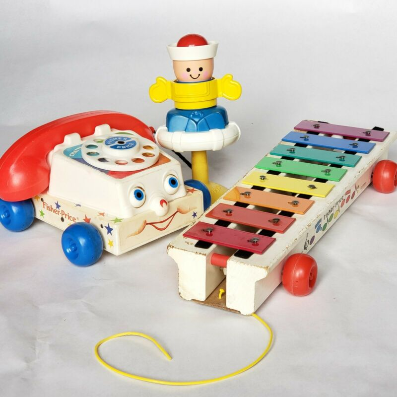 Fisher Price Vintage Toys Lot Chatty Phone 747 Xylophone 870 Squeak Sailor 415