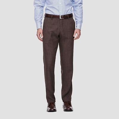 NEW MENS HAGGAR H26 STRAIGHT FIT DRESS PANTS NO IRON SLACKS BROWN HEATHER VARIET Heathered Mens Dress Pants