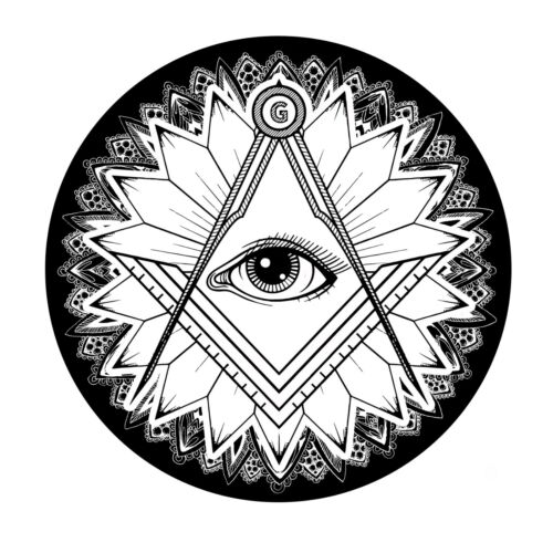 Floral All Seeing Eye Square & Compass Round Masonic Bumper Sticker