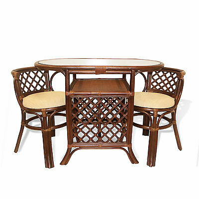 Borneo Handmade Rattan Dining Set,Oval Table with Glass + 2 Chairs. Dark Brown