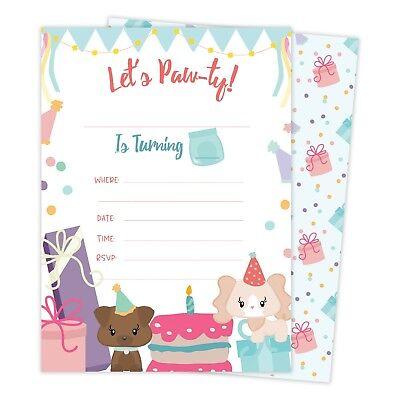 Dogs Puppy Happy Birthday Invitations Invite 25ct w/ Envelopes + Seal Party