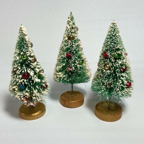 "Vintage Bottle Brush Christmas Tree Flocked Glass Ornaments Japan 5"" Set of 3"