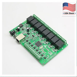 8 Channel Dual Control Relay Network IP Web Relay Ethernet RJ45 interface US