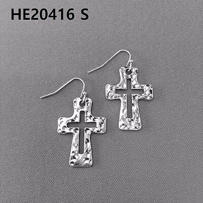 Antique Silver Finished Hammered Cross Design Shape Drop Dangle Hook Earrings