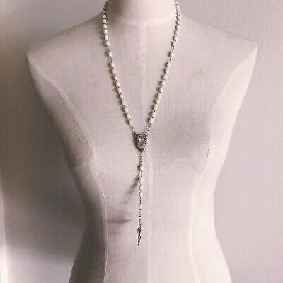 90s Glow In The Dark White Rosary Cross Necklace ()