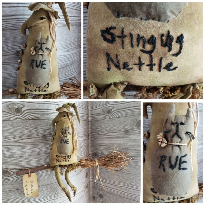 """Primitive Halloween Grungy Witch Doll """"Stinging Nettle"""" on Broom with Cat """"Rue"""""""