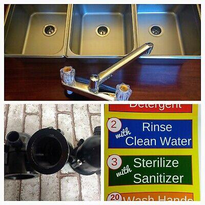 Portable Concession Sinks Large 3 Compartment Sink Set Drain Traps