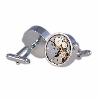 Silver Watch Movement Steampunk Mechanical Mens Cufflinks Clockwork Wedding Gift