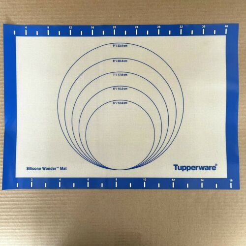 Tupperware Baking Mat Roll Out Silicone Wonder White Blue #0822 New