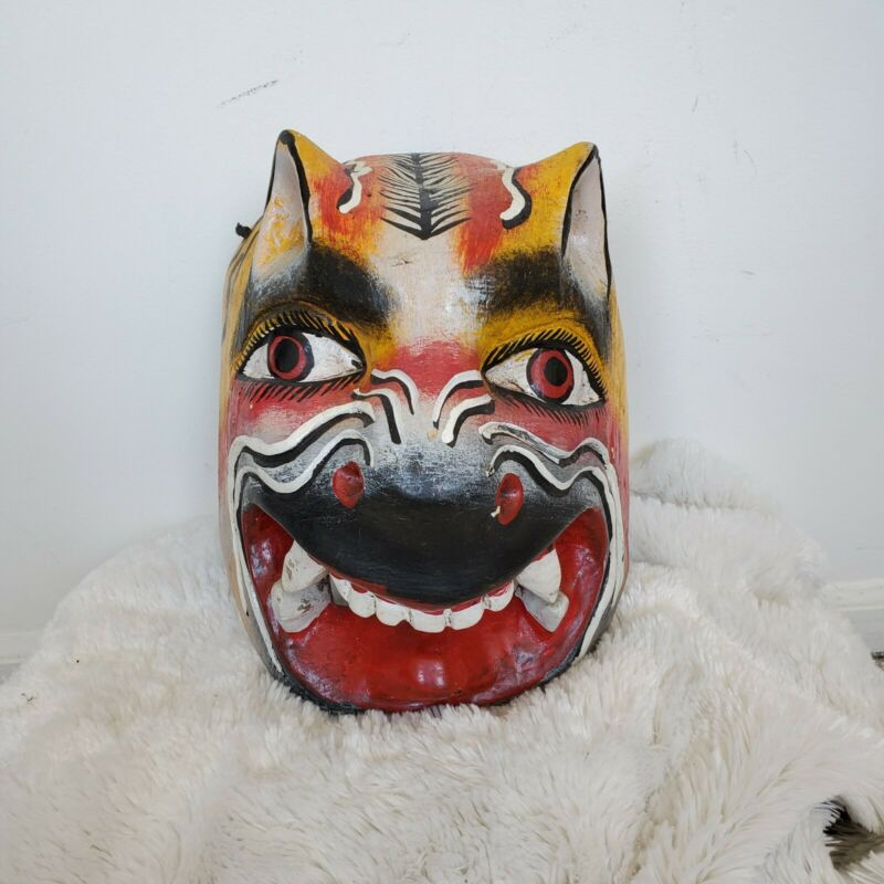Vintage Hand Carved Native American Tribal Wolf Coyote Mask