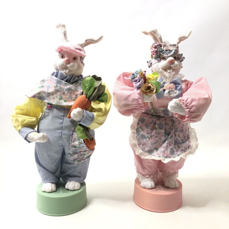"""Set of 2 Musical Easter Bunnies 15"""" Mother and Father Springtime Decorations"""