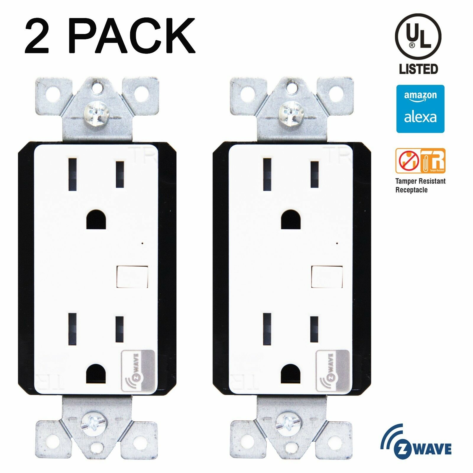 2 Pack Z-Wave Outlet 15A Duplex Receptacle Wireless Control Home Automation