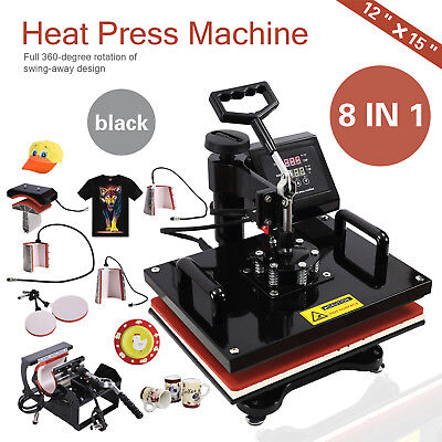 8in1 Dual Heat Press Machine Digital Transfer Sublimation Mug T-shirt Swing Away