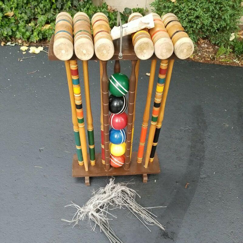 Vintage Kourt King Croquet Set ~ Wood Stand ~ 6 Player Complete