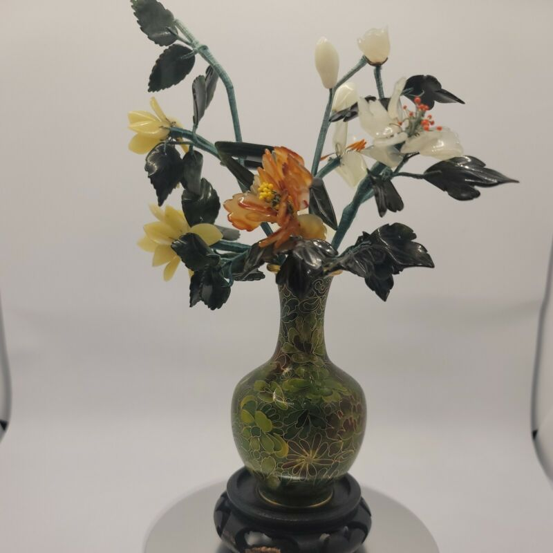 vintage cloisonne vase With Jade And Stone Flowers