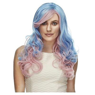 Womens Costume Wig Heat Safe Cotton Candy Blue Pink Unicorn Curly Halloween](Cotton Candy Halloween Costume)