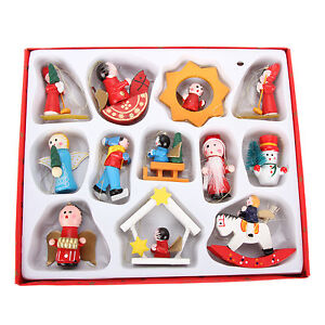12 Traditional Wooden Christmas Tree Decorations Rocking Horse Drum Toys Angel