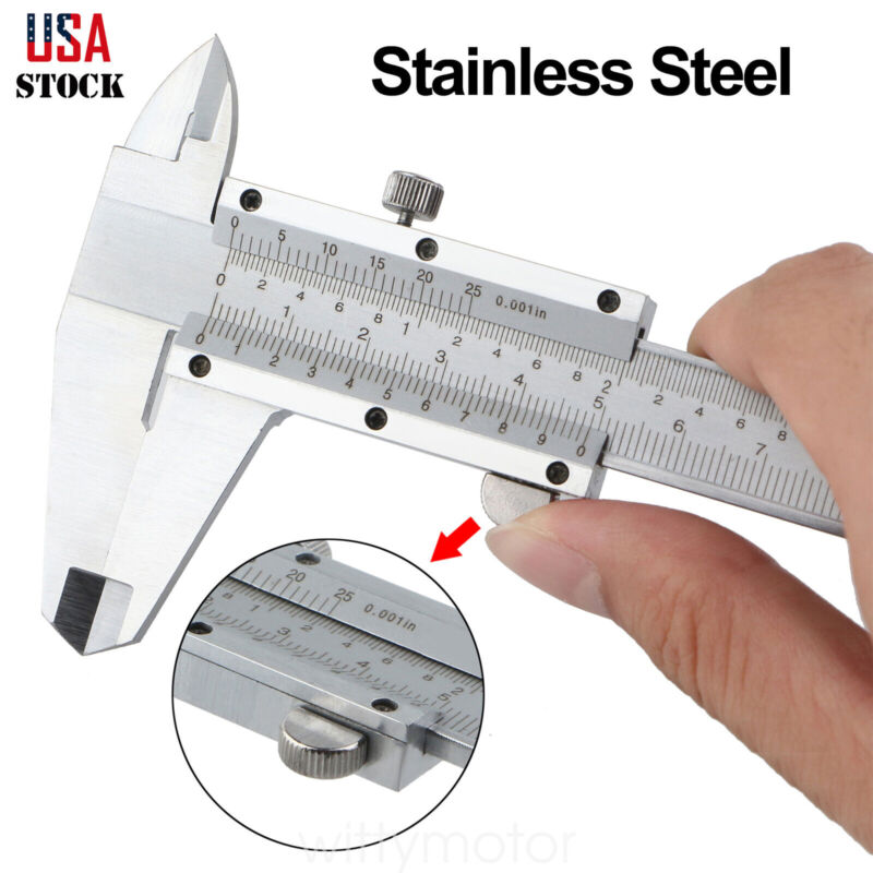 6 Inch/150mm Stainless Steel Vernier Caliper Micrometer Gauge Measure Tool