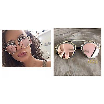 AYZA So Real Design Sonnenbrille Damen Vintage Retro Rosagold Verspiegelt