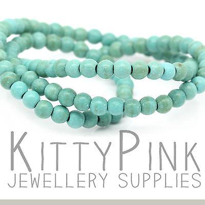 "16"" Strand Turquoise 4mm Round Boho Gem Stone Beads Approx 100 Beads"