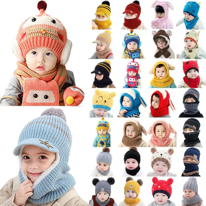 Hat Scarf  Set Warm Beanies Caps Knitted Cotton Hats Boys Girls Toddler Hats