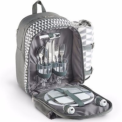 VonShef 2 Person Waterproof Insulated Geo Grey Picnic Backpack With Blanket