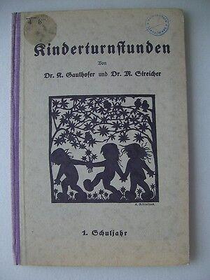 Kinderturnstunden 1. Schuljahr 1924 Scherenschnitten Turnen Kinderturnen