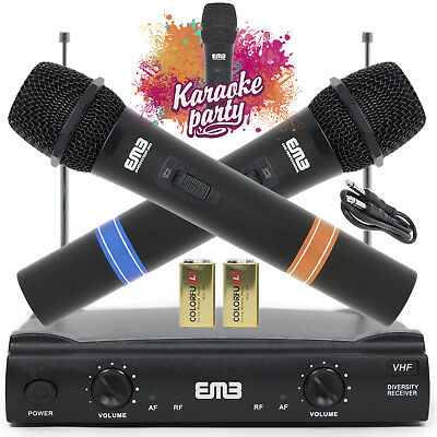 Vocal Karaoke Wireless Microphone System Dual Handheld 2 x Mic Cordless Receiver ()