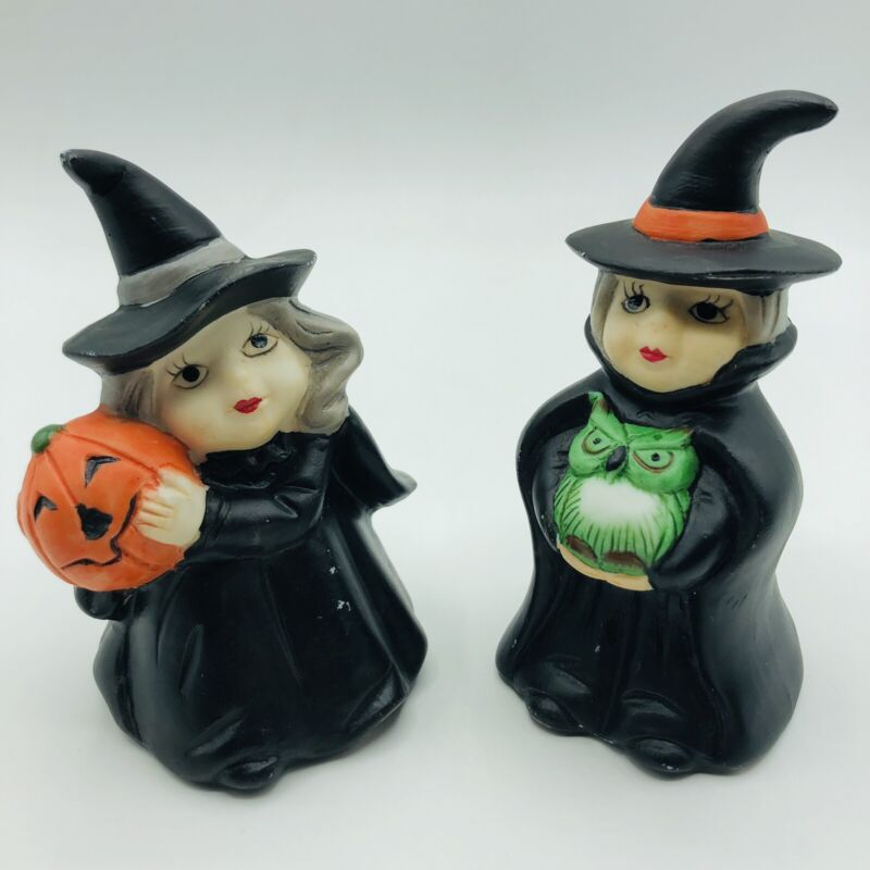 Vintage Flambro Halloween Witch Figurines Halloween Decoration Lot Of 2 Witches
