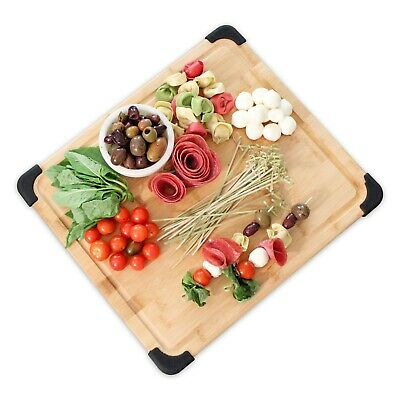 Extra Large Premium Organic Bamboo Wood Non-Slip Cutting Board & Serving Platter Non Slip Cutting Board