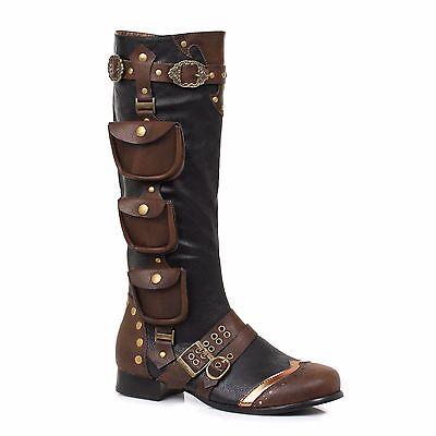 Black Brown Gold Steampunk Pirate Captain Renaissance Fair Costume Mens - Black Pirate Boots