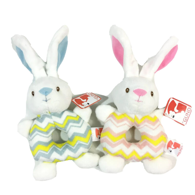 Gund Bunny Baby Rattle Plushies Blue & Pink 2 Pack
