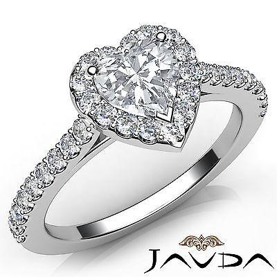 Halo U Cut Pave Women's Heart Diamond Engagement White Gold Ring GIA G VS1 1 Ct