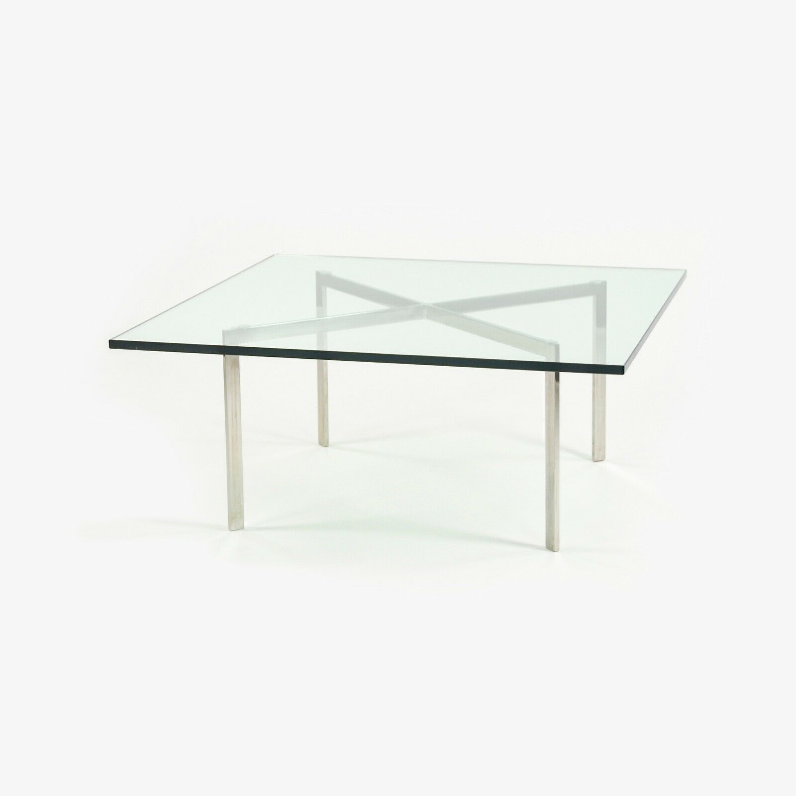 1960s Knoll Mies Van Der Rohe Barcelona Coffee End Table Glass Stainless 40in Kp Ebay