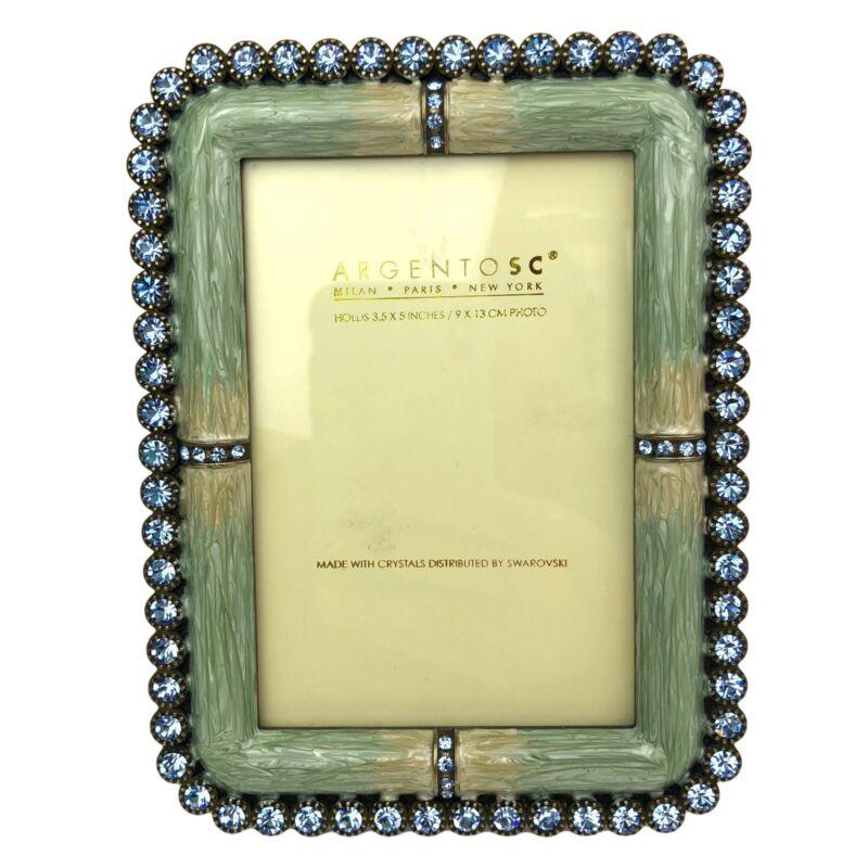 Argento SC Picture Frame Blue Swarovski Crystals Green Border 3.5x5 Paris NEW
