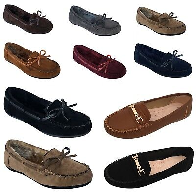 New Womens Moccasins Loafer Slip On Shoe Indoor Outdoor Slipper Fur Size Black