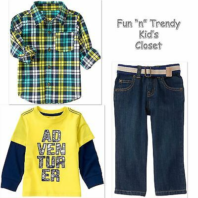 Belted Plaid Jeans (NWT 3-PC SET Crazy 8 Boys Size 2T 3T Plaid Shirt + Belted Jeans + Adventure Tee)
