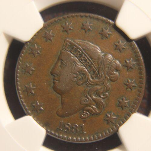 1831 Coronet Head Large Cent, N-3, Medium Reverse Letters, VF-30