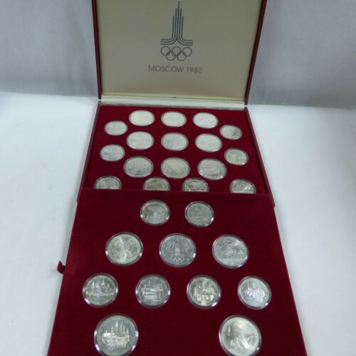 1980 USSR 5 & 10 Roubles Moscow Olympics (28 coins) .900 Silver set in Box