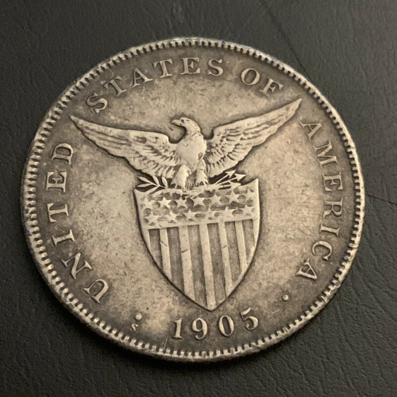 1905S US Philippines Peso circulated 90% silver coin