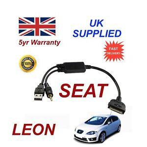 SEAT Leon (6J0051700B) Audio iPhone 3GS 4 4S iPod USB & 3.5mm Aux Cable