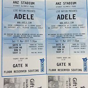 ADELE LIVE - Sydney Show 11th March - x2 A Reserve Floor seats Bankstown Bankstown Area Preview
