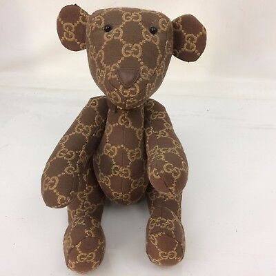 Auth GUCCI GG Pattern Brown Sitting Stuffed Teddy Bear 7i190100n