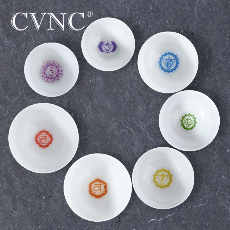 "CVNC 432Hz 8""-12"" Chakra Design Tuned Set of 7 pcs Quartz Crystal Singing Bowls"