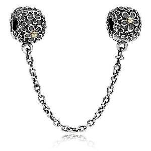 Genuine Authentic Pandora Silver & Gold Bouquet Flower Clip Safety Chain. 790864