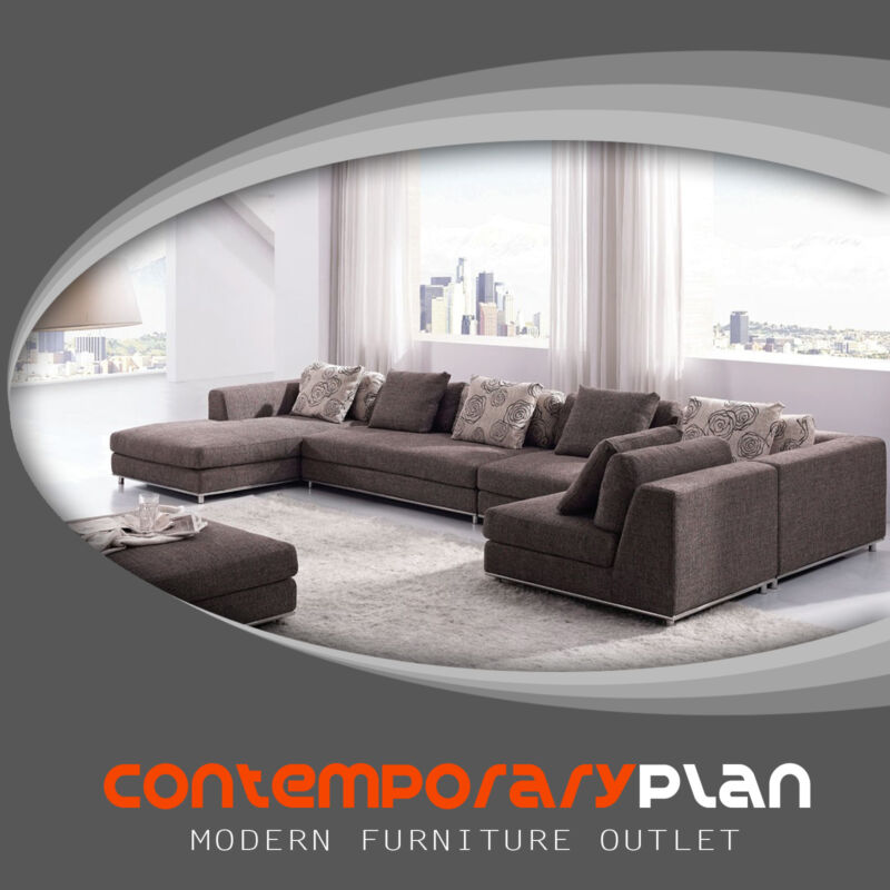 Contemporary Brown Fabric Sectional Sofa Set W/ Modern Chaise Ottoman L Shaped