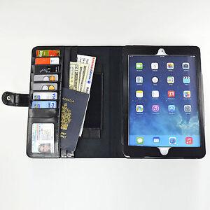 Navor-Leather-Wallet-Case-iPad-Air-Money-Bills-Card-Pockets-Clear-Window-ID