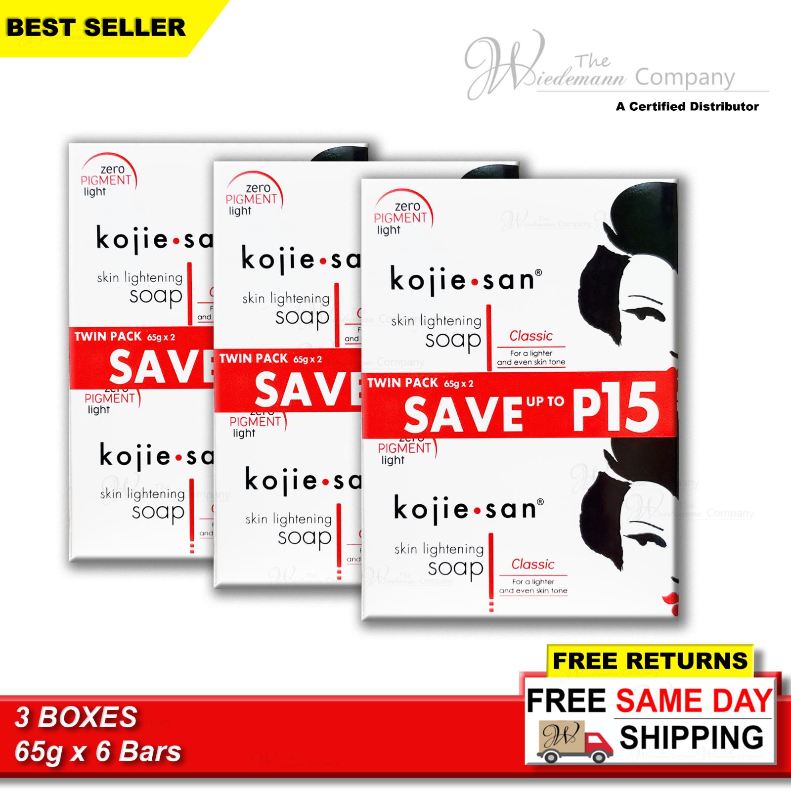 Original Kojie San Kojic Acid Skin Whitening Soap  65g x 6
