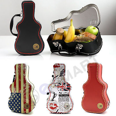 1x Metal Guitar Shaped Case Lunch Box Food Storage Portable Handle Novelty